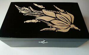Big huge black carved storage box handcarved wooden jewelry case coffe tea box