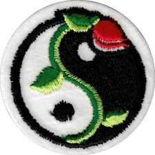 20025 Traditional Black White Yin Yang Rose Eastern Asian Iron Sew On Patch