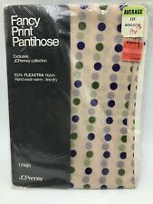 Vintage JCPenney Fancy Print Pantyhose Blue Polka Dot Nylons Stockings 1980s