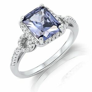 Large Emerald Cut Tanzanite Blue Genuine Sterling Silver Ring Size 4 - 12