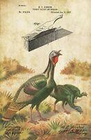 Turkey Hunting Box Call Patent Print Vintage Shotgun Cabin Wall Art Decor Gift