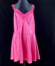 Delicates 1X Nightgown Pink Fuchsia Polyester Lace Trim Excellent Condition