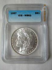 1887 Morgan Silver Dollar - Graded by ICG MS 63