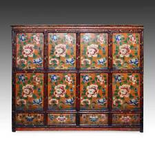 RARE ANTIQUE CABINET PAINTED PINE WOOD TIBET CHINESE FURNITURE 19TH C.