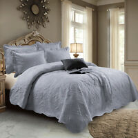 Grey Quilted Bed Throw Bedspread Single Double King Size Luxury 3 PC Bedding Set