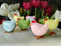 8 x süße Metall Küken Hahn Huhn Henne Figur Osterdekoration Ostern Rosa Grün