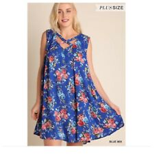 626159defba Umgee Blue Mix Floral Print Sleeveless Tunic Swing Dress Plus Size