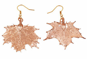 Zhannel Real Leaf Hook Drop EARRINGS Sugar Maple in Rose Gold Genuine Leaf New