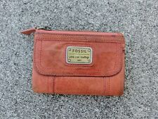 FOSSIL EMORY MULTIFUNCTION In Papaya Leather TriFold Wallet