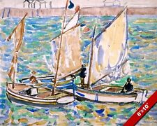 ST MALO SAIL BOATS PRENDERGAST OIL PAINTING ART REAL CANVAS GICLEEPRINT
