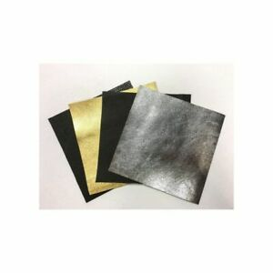 GATSBY STYLE Gold, Dark silver Black Perforated Snake leather 5x5 inch sheet set