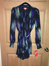 NWT Kirna Zabete for Target Belted Long Sleeve Shirt Dress Abstract Black Blue S