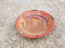 Old Primitive Handmade & Painted Wooden Salad Plate