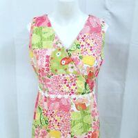 Tahiti Reef Club Patchwork Print Sleeveless Shift Dress Size M Cotton Spandex