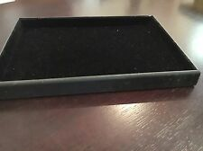 JEWELLERY DISPLAY TRAY BLACK VELVET LINED FAUX LEATHER OUTER