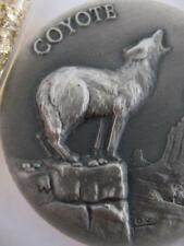 1-OZ .925 LONGINES STERLING SILVER DETAILED COYOTE 3D HIGH RELIEF COIN + GOLD