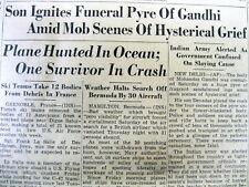 1948 newspaper MAHATMA GANDHI DEATH in INDIA - ASSASSINATED by HINDU fanatic