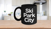 Ski Park City Mug Black Coffee Cup Funny Gift for Skier Patrol, Bunny, Bum, Utah