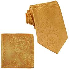 New Men's Polyester Woven Neck Tie necktie & hankie set Gold paisley wedding