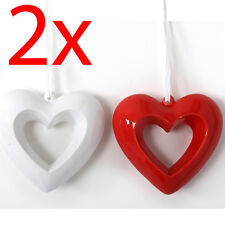 Set of 2 Hanging Heart Ceramic 15cm Wedding Decor Gift Home Valentines Plaque