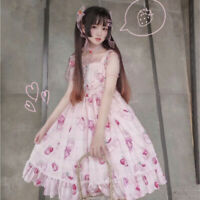 Girl Pink Cherry Japanese Streetwear Classic Lolita Bow Clothes Cute Dress Women