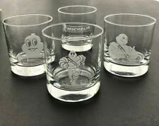 New listing Collectible Set Of 4 Michelin Etched Whiskey Rocks Glasses Weighted Bottom *New*