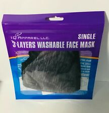 New listing Face Mask Washable Single 3 Layers Iq Apparel Free & Same Day Shipping Usa