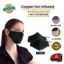 Cloth Face Mask - Washable - Copper Ion Infused - 4 Layers of Filtration 2-PACK