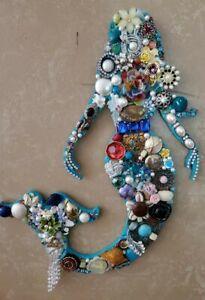Vintage Jeweled Wall Art Mermaid