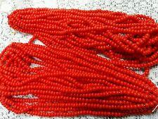 Vtg 2 HANKS CHINESE RED BIG SEED BEAD-DEAD STOCK-WQW BOGO
