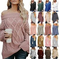 Women Off Shoulder Sweater Winter Warm Pullover Jumper Casual Knitted Top Blouse
