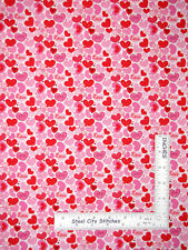 Valentine's Day Love Hearts Pink Red White Cotton Fabric Traditions By The Yard