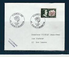 FRd enveloppe Fleurs  Floralies  rose  02 Saint-Quentin   1968