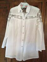 Women's White Superfine Lawn Cotton Loose Fitting Shirt Top Blouse Size XL
