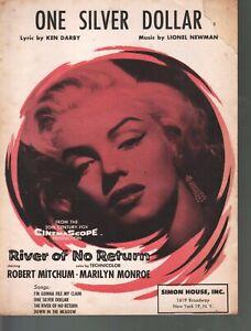 One Silver Dollar 1954 Marilyn Monroe River of No Return Sheet Music