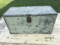 Antique Vintage Mechanist Tool Box with Handles Tool Trunk Chest Metal Wood