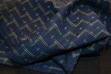 Japanese Silk Fabric Tsumugi Silk Navy with Green and Yellow Kasuri Weave 1066rr