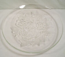 """12.5"""" Clear Glass Tabletop Bowl, Pressed Etched 3-D Roses Centerpiece Fruit Bowl"""