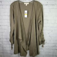 NWT MICHAEL KORS Draped Open Front Cardigan Cinched Sleeves Sweater Size M