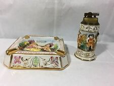 VINTAGE LOT 2 GB R. CAPODIMONTE ITALY PORCELAIN ASHTRAY AND LIGHTER