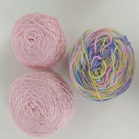 Mixed Lot 3 Cakes 1 Rainbow 2 Pink Crochet Knitting Blanket Yarn