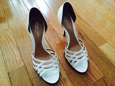 Sergio Rossi white patent leather strappy d'orsay sandals heels shoes 37.5 7