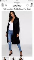 Boohoo Tall Longline Teddy Faux Fur Coat *sold out* Size Small
