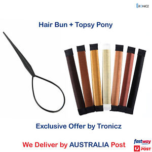 Women's Magic Hair Bun Snap Styling Donut Former French Twist Band Maker Tool AU