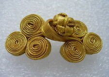 Fg216 Metallic Ribbon Coils Frog Closure Buttons Gold Sewing/Dress/Designer 5prs