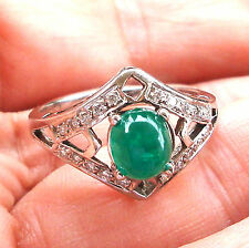 Delicate 14k W Gold  1.01 Ct Cabochon Emerald .20 Ct Diamond Ring Fine Jewelry