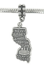 STERLING SILVER TRAVEL STATE MAP OF NEW JERSEY DANGLE EUROPEAN BEAD CHARM