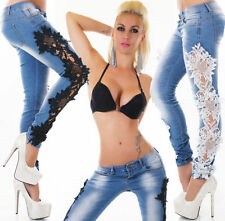 Lace Machine Washable Low Rise Jeans for Women