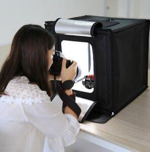 Mobiles Fotostudio Fotobox Tragbares LED Ministudio Lichtbox Fotozelt 40x40x40cm