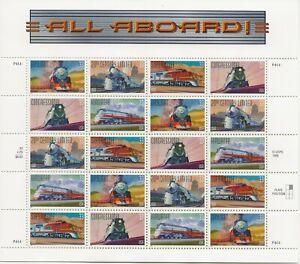 1999 33 cent Trains full Sheet of 20, Scott #3333-3337, Mint NH